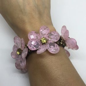 Pink Stretch Flower Bracelet